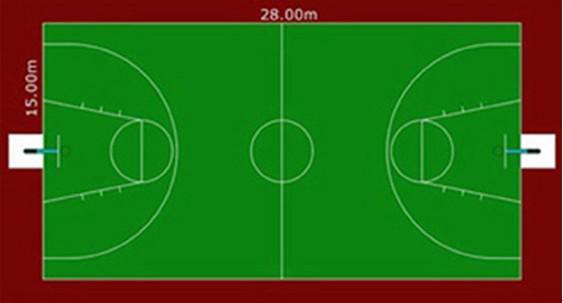 所有篮球场的尺寸,要与国际篮联的主要正式比赛所规定的要求一致:长28米,宽15米。(从界限的内沿丈量)天花板或最低障碍物产高度至少7米。球场照明要均匀,光度要充足。灯光设备的安置不得妨碍队员的视觉。 德国威赛尔纯丙稀酸水性运动地坪涂装系统由德国SONDE-CONAR公司制造,主要原料采用德国BASF,Bayer等公司优质原材料,水性环保,材料硬化快速,色彩亮丽,长久如新,特殊设计的涂料表层耐水性, 耐候性十分优异,并提供最佳的耐磨性,止滑性及弹性,使运动员可以发挥最大的运动潜能。